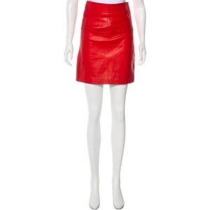 Phillip Lim Red Leather Skirt